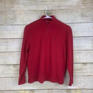 Polo Ralph Lauren 1/4 Zip Red Pull Over Sweater